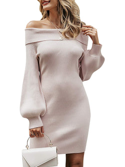 Zandiceno Women's Elegant Off Shoulder Puff Sleeve Mini Dresses Bodycon Fall Knit Sweater Dress