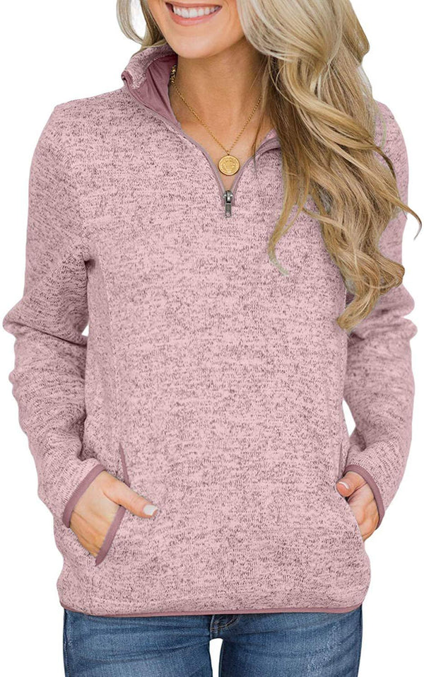 Arainlo Women Casual 1/4 Zip Sweatershirt Long Sleeve High Collar Pullover Tunic Top with Pocket