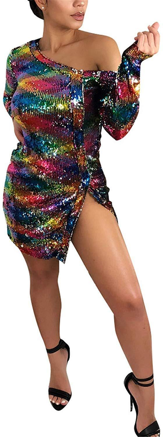 Women's Sparkle Glam Rainbow Striped Sequins Short Sleeve Dress for Party