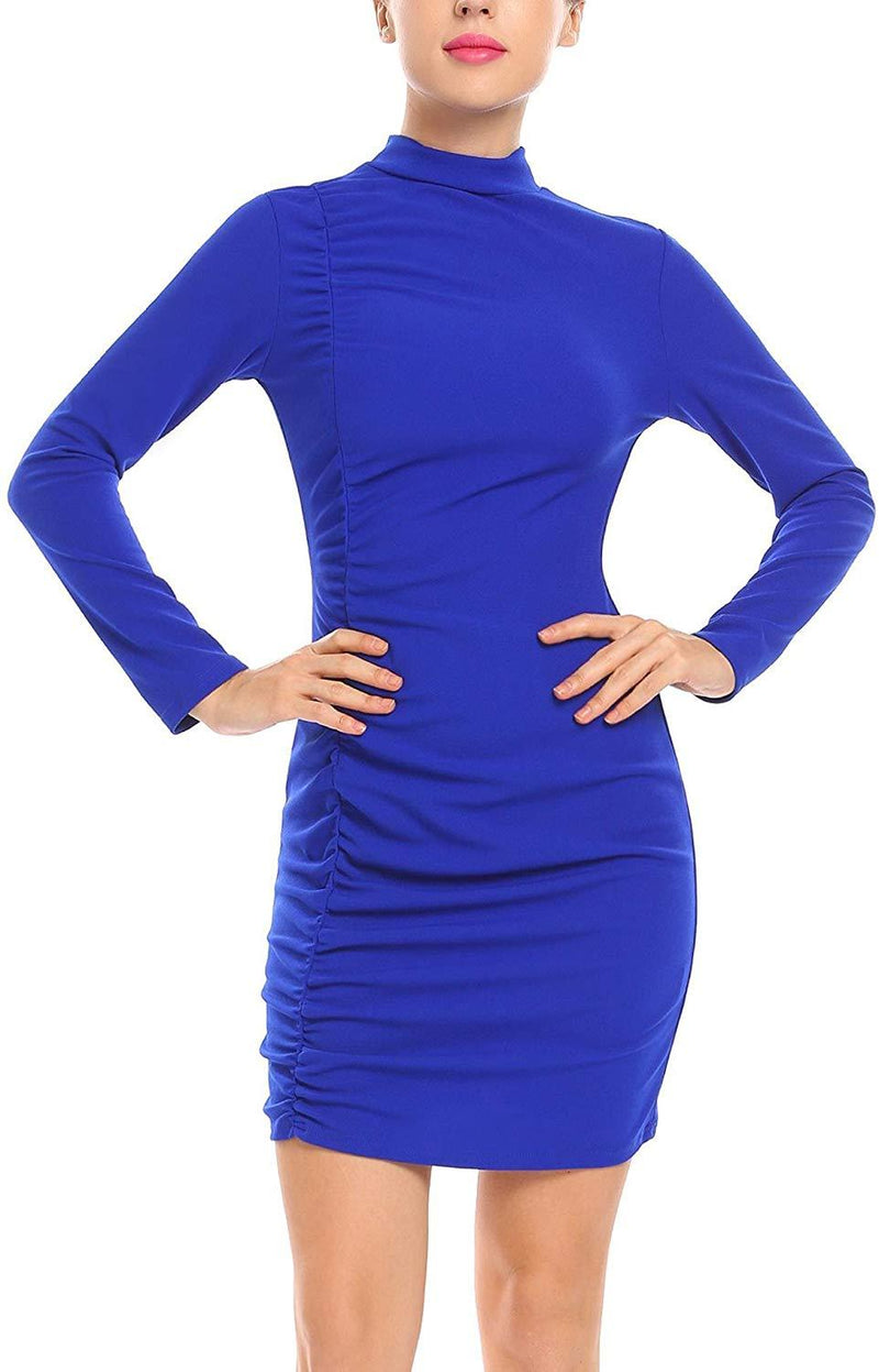 ANGVNS Women's Sexy Stand Neck Long Sleeve Pleated Bodycon Mini Club Dress