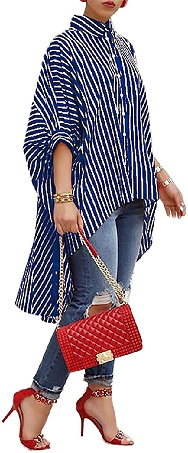 Speedle Women Oversized Striped Shirts - 3/4 Sleeves High Low Button Down Stripe Loose T Shirt Blouse