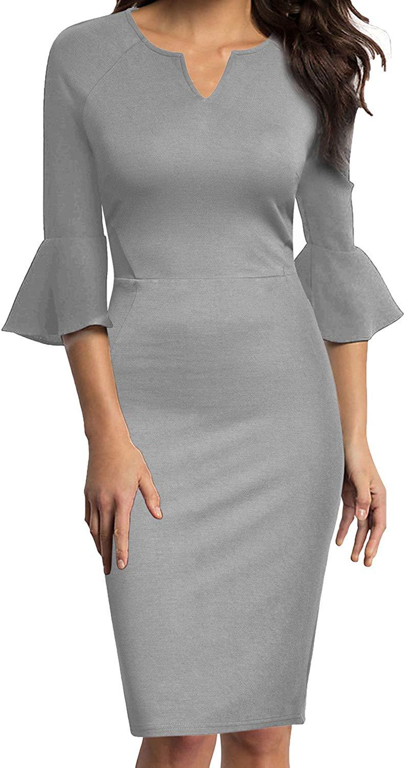 WOOSUNZE Womens Flounce Bell Sleeve Office Work Casual Pencil Dress 1
