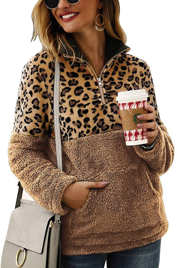 MOPOOGOSS Womens Long Sleeve Half Zip Patchwork Leopard Print Fuzzy Fleece Pullover Outwear Sweatshirt Coat with Pocket