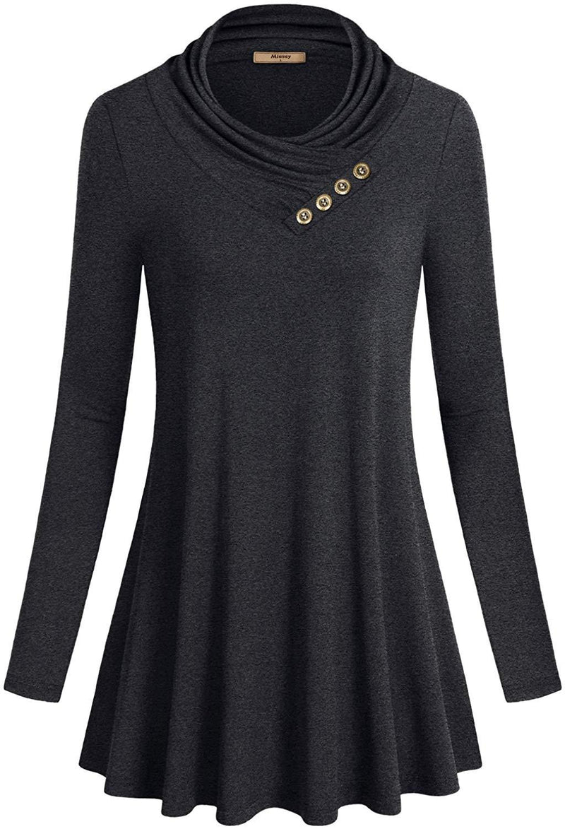 Miusey Women's Long Sleeve Cowl Neck Form Fitting Casual Tunic Top Blouse