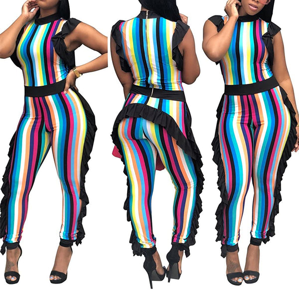 Speedle Womens Sleeveless Stripe High Neck Ruffle High Waist Bodyocn Jumpsuits Long Romper Pants