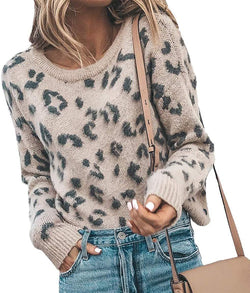HZSONNE Women's Casual Leopard Crew Neck Loose Fit Sweater Long Sleeve Slouchy Pullover Knitted Fuzzy Jumper Tops