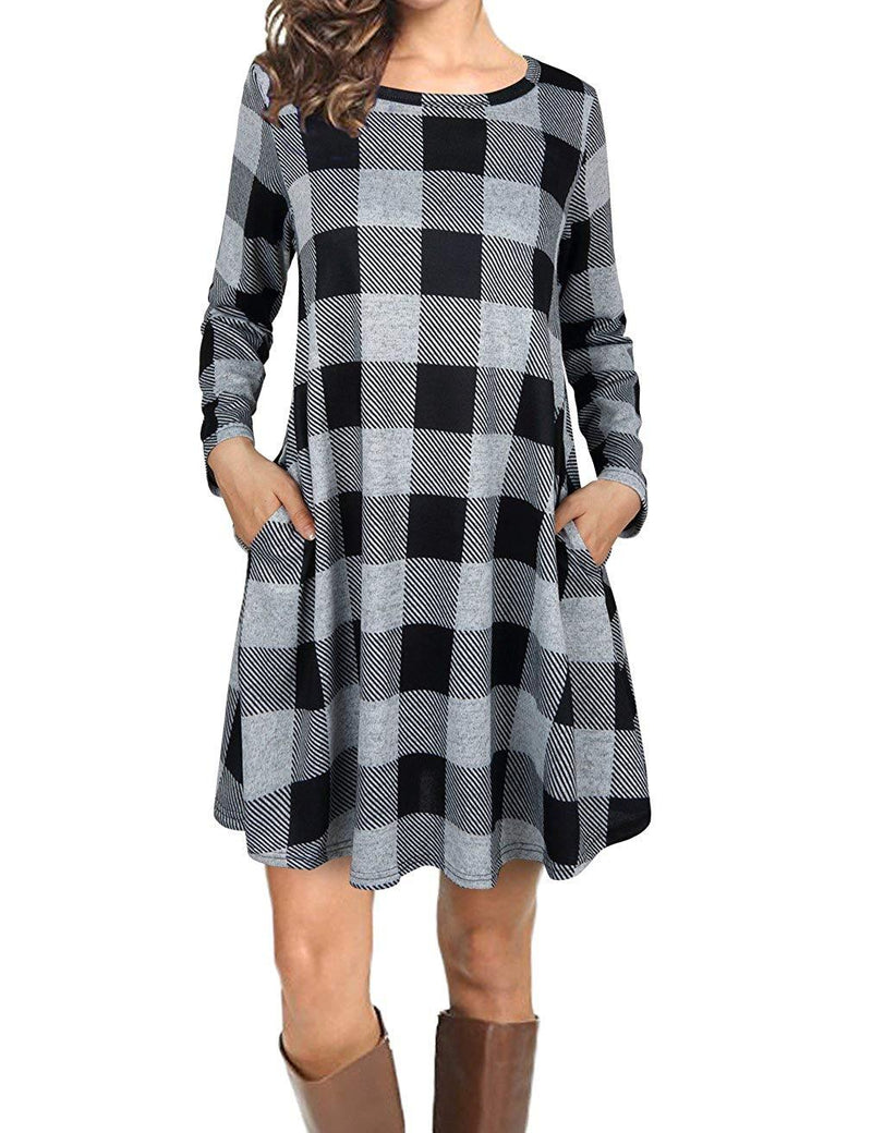 EMVANV Women's Casual Loose Long Sleeve Plaid T Shirt Dress with Pockets