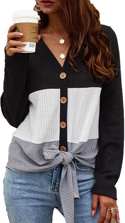 WFTBDREAM Womens Long Sleeve V Neck Tops Waffle Knit Button Down Shirts Blouse