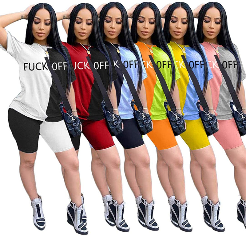 Women¡¯s 2 Piece Outfits - Color Block Stripe Short Sleeve Round Neck Top Skinny Long Pants Tracksuit Set 1
