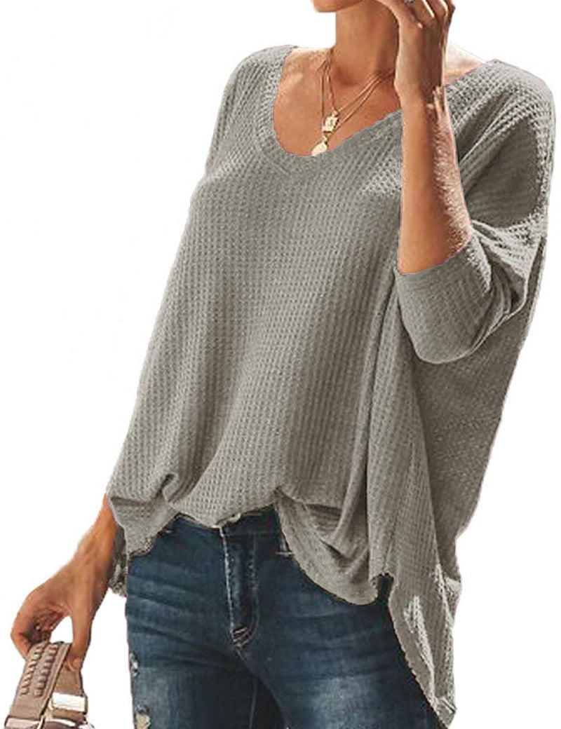 SIMPFIT Womens V Neck Tunic Blouse Henley Shirts Waffle Knit Casual Loose Plain Pullover Plain Shirts