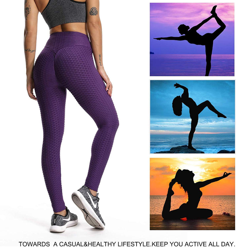 RIOJOY Yoga Pants for Women,Honeycomb High Waist Ruched Butt Scrunch Booty Fitness Leggings Gym Workout Running Tights