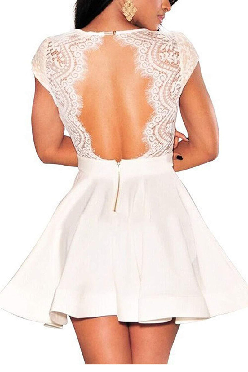 Zeagoo Women's V Neck Lace Floral Open Back Skater Cocktail Wedding Party Dress