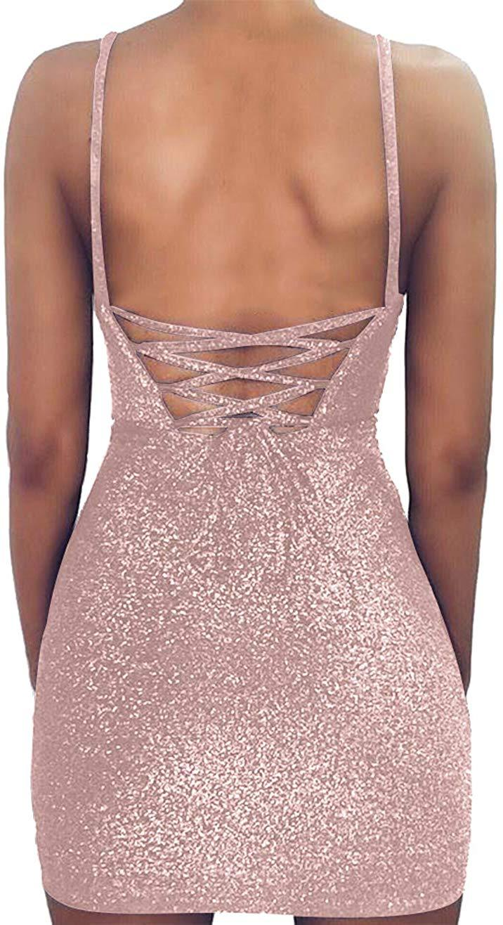 Aicycling Womens Glitter Dress Party Lace Up Mini Dress Tie Up Open Back Dress