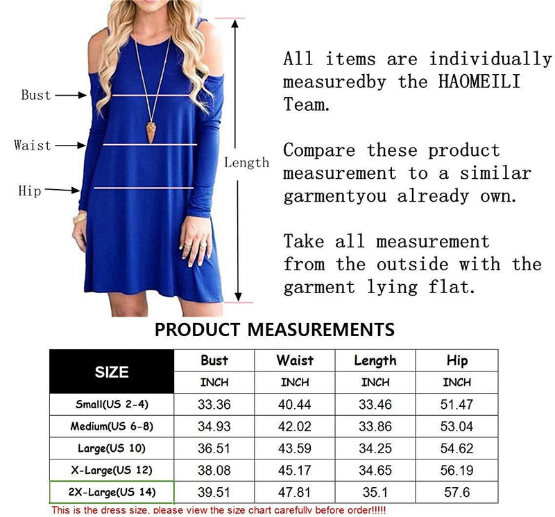 HAOMEILI Long Sleeve Women's Cold Shoulder with Pockets Casual Swing T-Shirt Dresses 1 2
