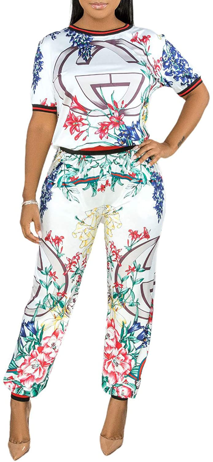 2 Piece Outfits for Women Floral Jumpsuits Sleeve Loose Top High Waist Long Pants