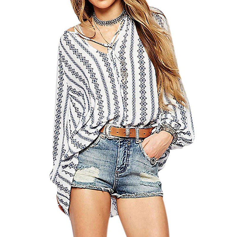 ZXZY Women Long Sleeve V Neck Hollow Out Floral Print Shirt Tops Long Blouse Tee