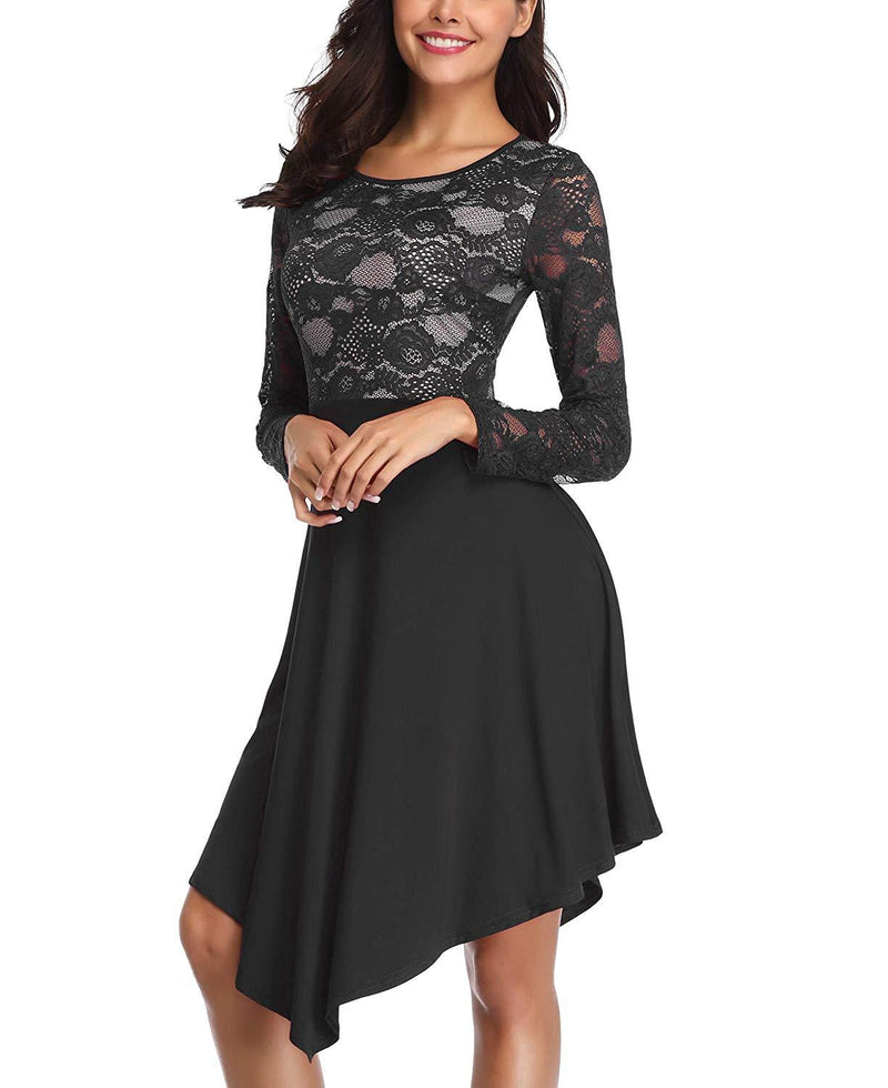 LEORAY Women's Lace Long Sleeve Cocktail Party Swing Dress