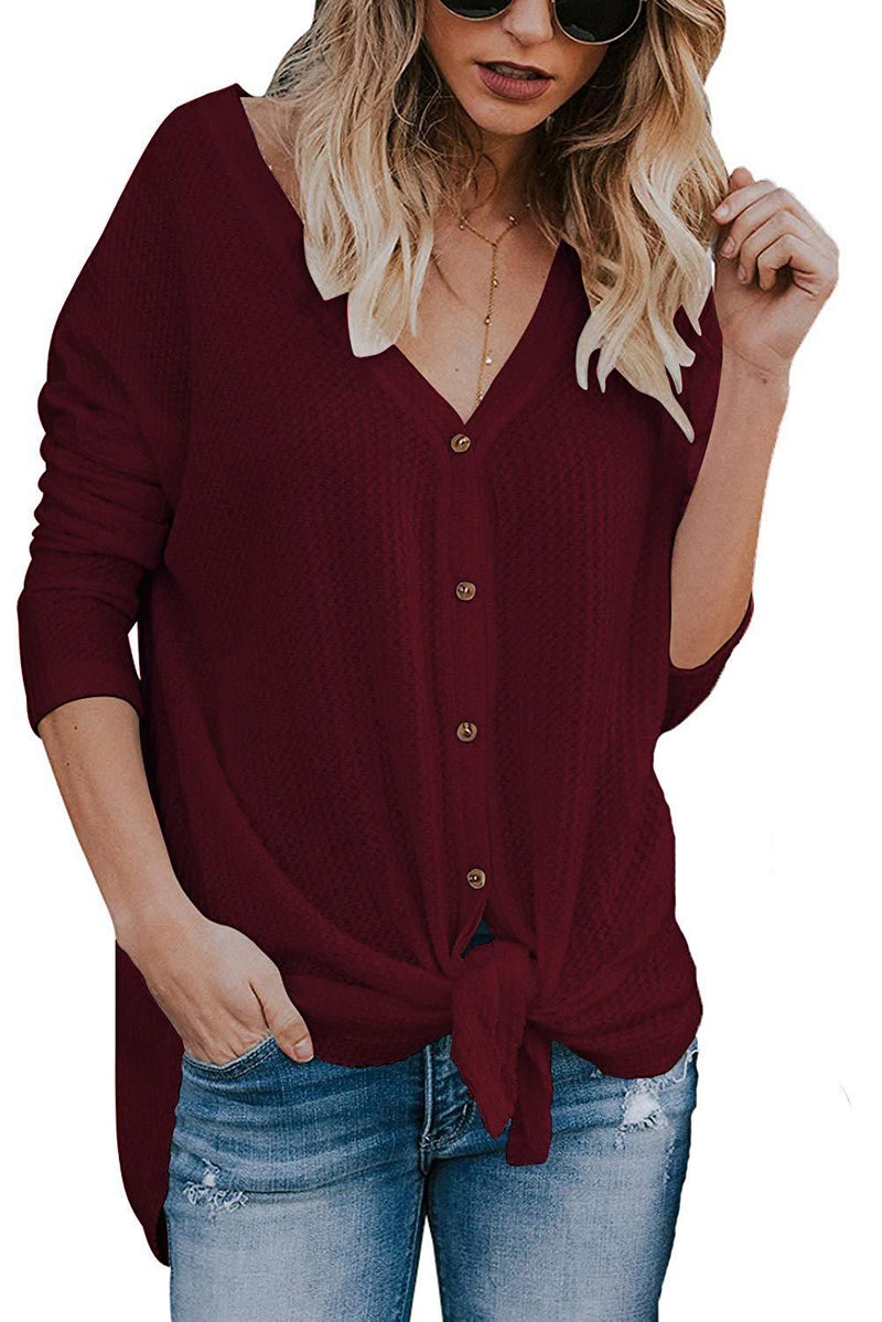 JOSIFER Womens Tops V Neck Button Down Loose Fitting Shirts Waffle Knit Tunic Blouse