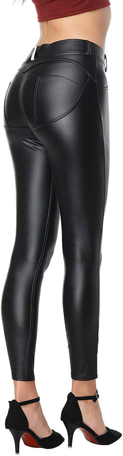 Faux Leather Pants Leggings PU Sexy Elastic Pant Women's Butt Lift Super Slim Wet Look Thin