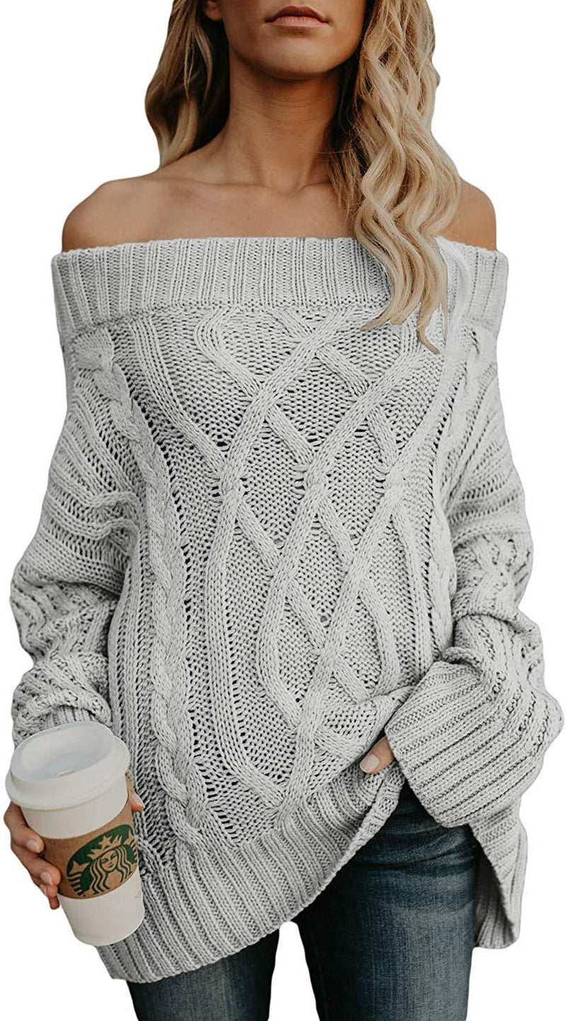Astylish Womens Loose Knitted Off The Shoulder Oversized Sweaters Pullovers Top