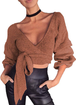Women's Sexy Plunging Deep V Neck Bandage Tie Front Surplice Wrap Crop Top Shirts Sweater