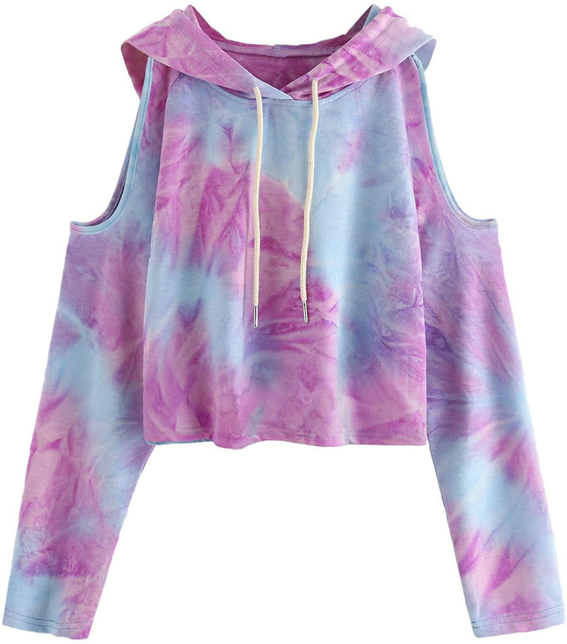 SweatyRocks Women's Cold Shoulder Tie Dye Pullover Hoodie Crop Top Sweatshirt