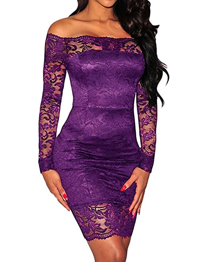 Kidsform Women's Off Shoulder Sexy Lace Bodycon Elegant Cocktail Party Long Sleeve Bandage Dress