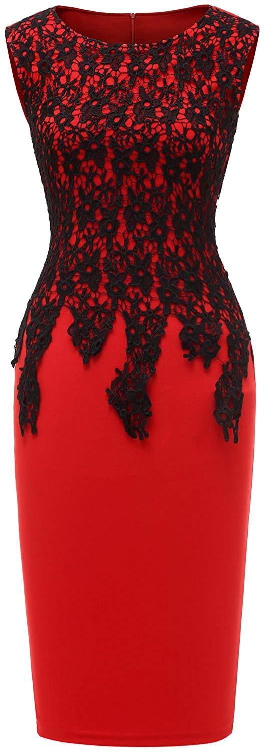 Avril Dress Womens Floral Lace Slim Bodycon Business Pencil Dress Cocktail Party Dress