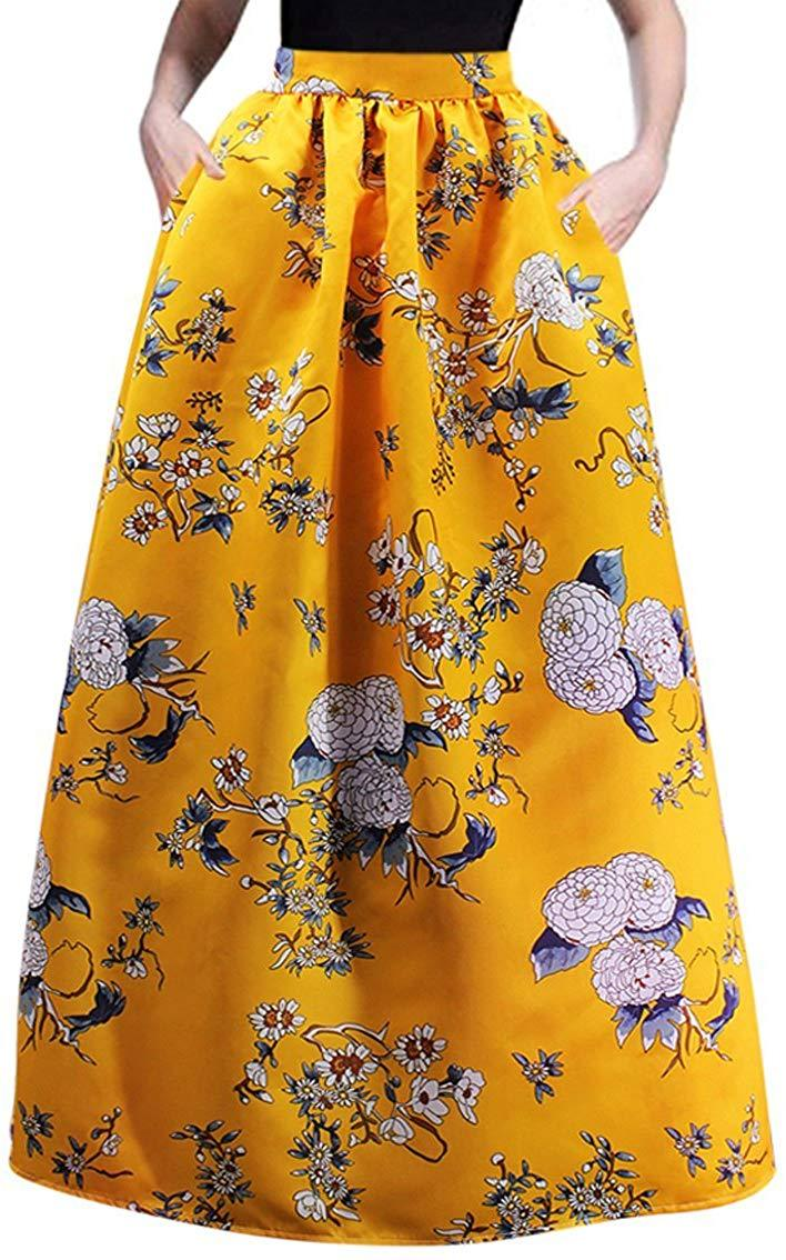 Women's African Skirt Floral Glamorous Print Pleated High Waist Casual Boho Beach Maxi with Pockets