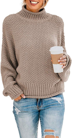 ZKESS Womens Casual Long Sleeve Turtleneck Chunky Knit Pullover Sweater Jumper Tops 1