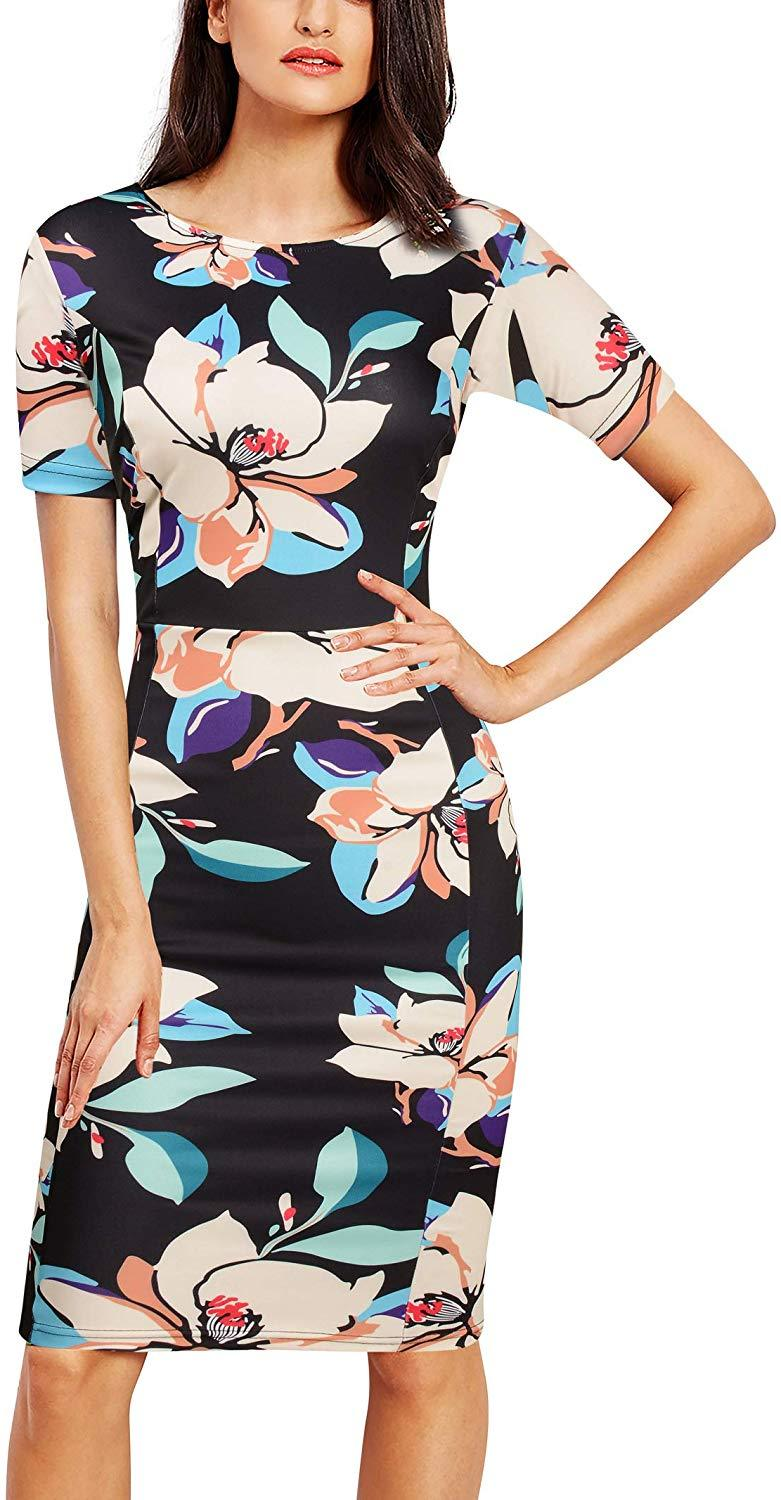 FORTRIC Women Printing Church Business Office Work Elegant Bodycon Pencil Dress