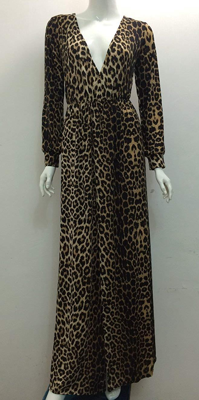 Blansdi Women V Neck Wrap High Waist Leopard Evening Party Casual Maxi Dress Gown