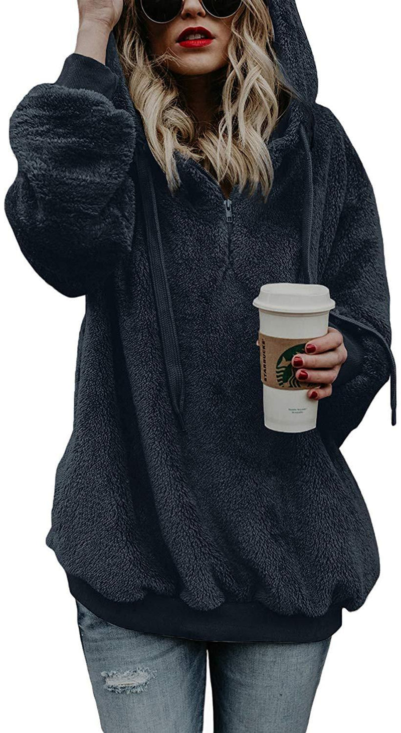 COCOLEGGINGS Women's Sherpa Pullover Fuzzy Fleece Sweatshirt Oversized Hoodies