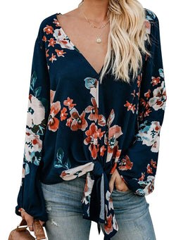 Zecilbo Womens Blouses Floral Printed Sexy Tops with V Neck Tie Knot Front Loose Fit Spring 2019 Chiffon