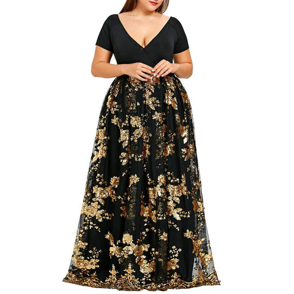 OldSch001 Women Plus Size Dresses,v-Neck Short Sleeve Floral Lace Sequined Evening Party Mesh Flowy Dress