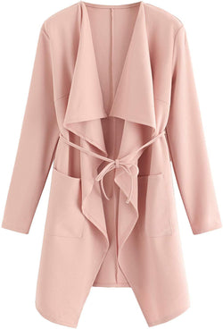 Romwe Women's Raw Cut Hem Waterfall Collar Long Sleeve Wrap Trench Pea Coat Cardigan