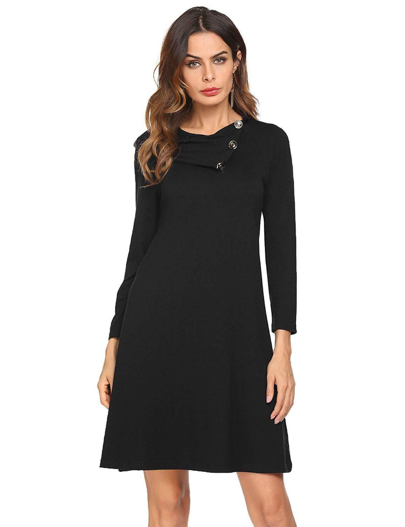 Pasttry Women's Casual Long Sleeve Button Lapel Loose T-Shirt Tunic Dress