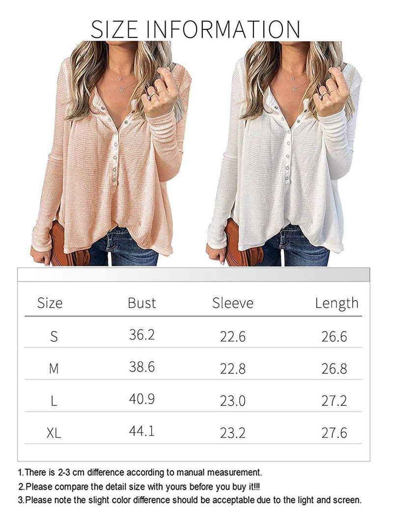 Rainlin Women Waffle Knit Shirts V Neck Button Down Henley Shirts Long Sleeve Pullover Blouse Tops