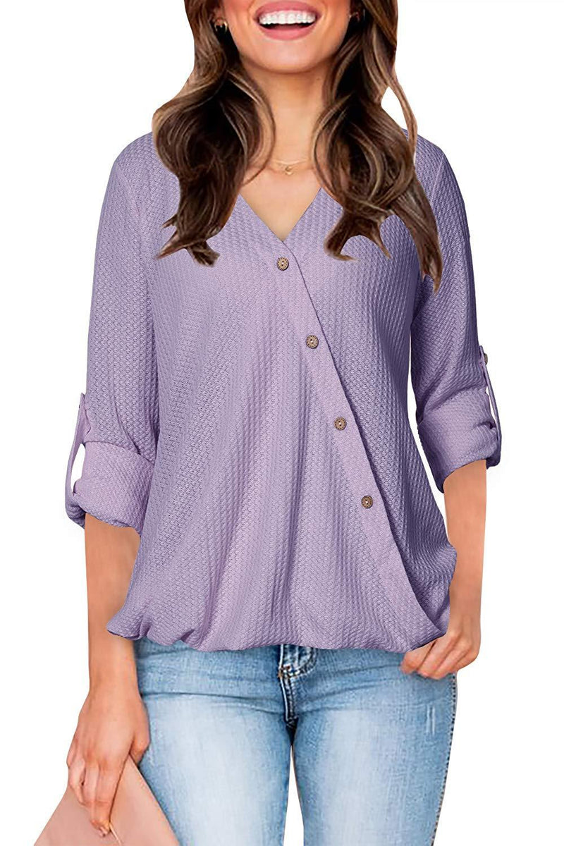 Women Casual Wrap T Shirt V Neck Button Down Tunic Waffle Knit Roll 3/4 Sleeve Blouse High Low Top