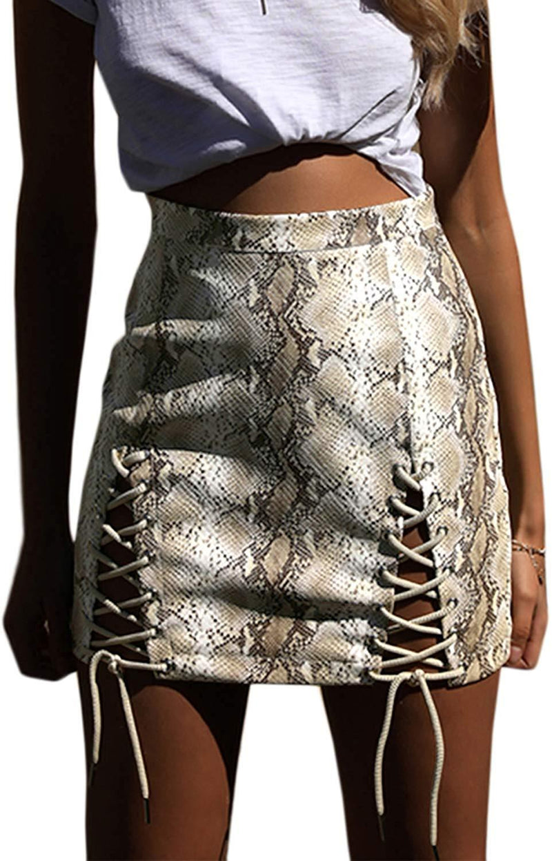Almaree Womens Sexy Side Lace Up Cutout High Waist Bodycon Suede Mini Skirt