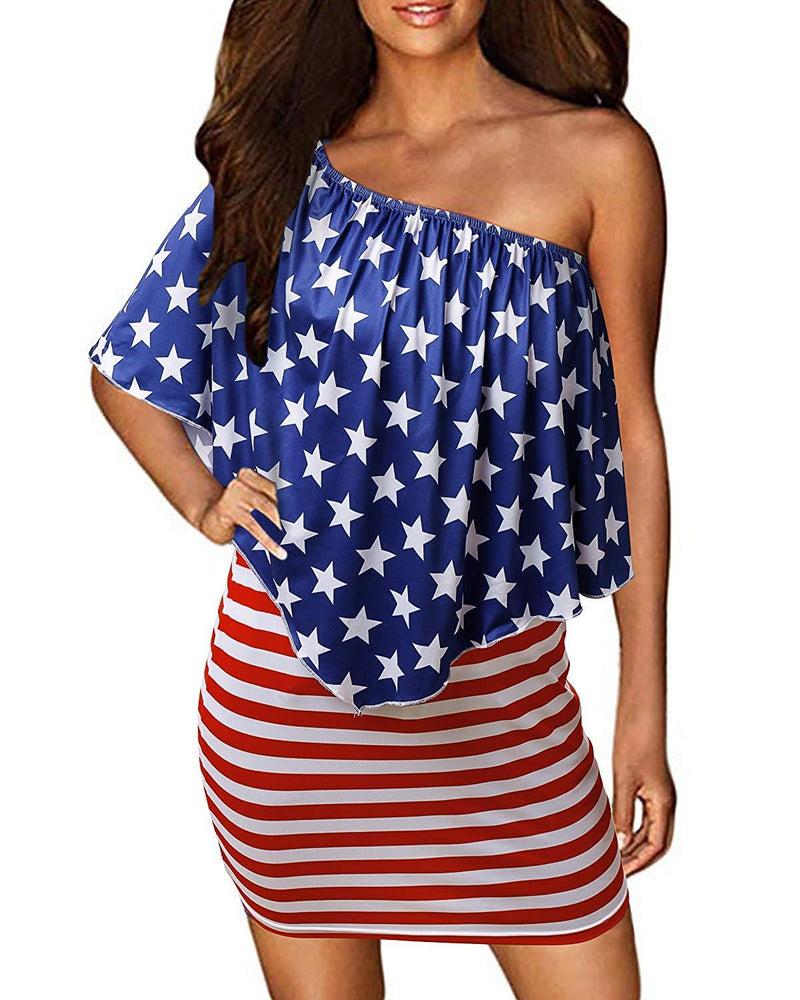 GIKING Women Off Shoulder Ruffles American Flag Printed Bodycon Tunic Dresses