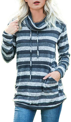 Asvivid Womens Cowl Neck Color Block Striped Tunic Sweatshirt Drawstring Pullover Tops with Pocket