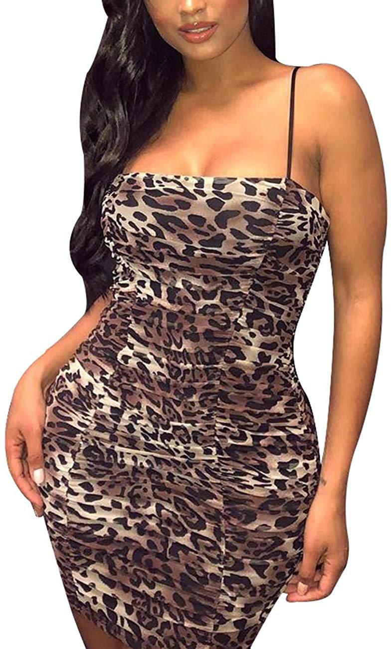 WISEFIN Women's Sexy Leopard Print Spaghetti Strap Ruched Bodycon Dress Backless Mini Club Dress
