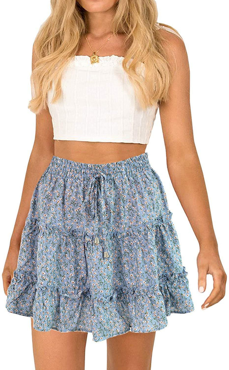 Salamola Women's Leopard Asymmetrical Ruffles High Waist Printed Cute Casual Mini Skirt