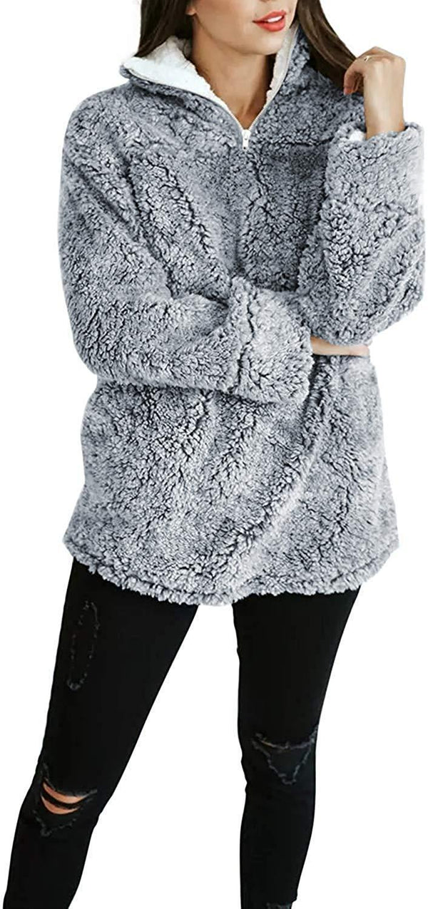 ZESICA Women's Autumn Winter Long Sleeve Zipper Sherpa Fleece Sweatshirt Pullover Jacket Coat