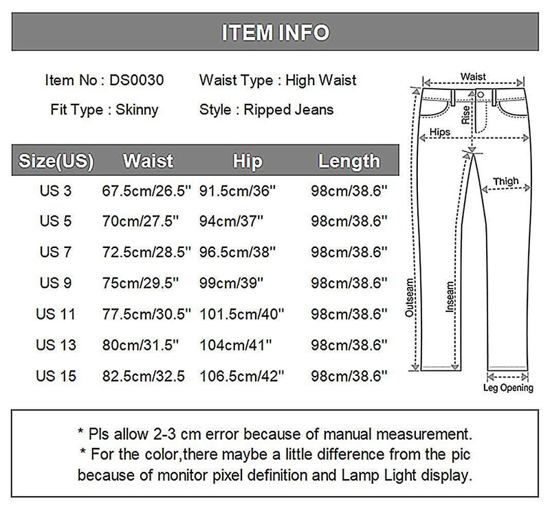 Wisptime Women Jeans Skinny Ripped Distressed Jeans Stretch Pants Boyfriend Trousers