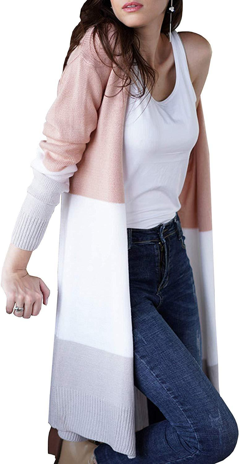 ECOWISH Womens Color Block Striped Draped Kimono Cardigan with Pockets Long Sleeve Open Front Casual Knit Sweaters Coat