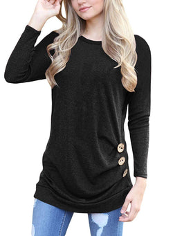 TrendiMax Women Long Sleeve Casual Button Side Round Neck Loose Tunic Tops Blouse T-Shirt