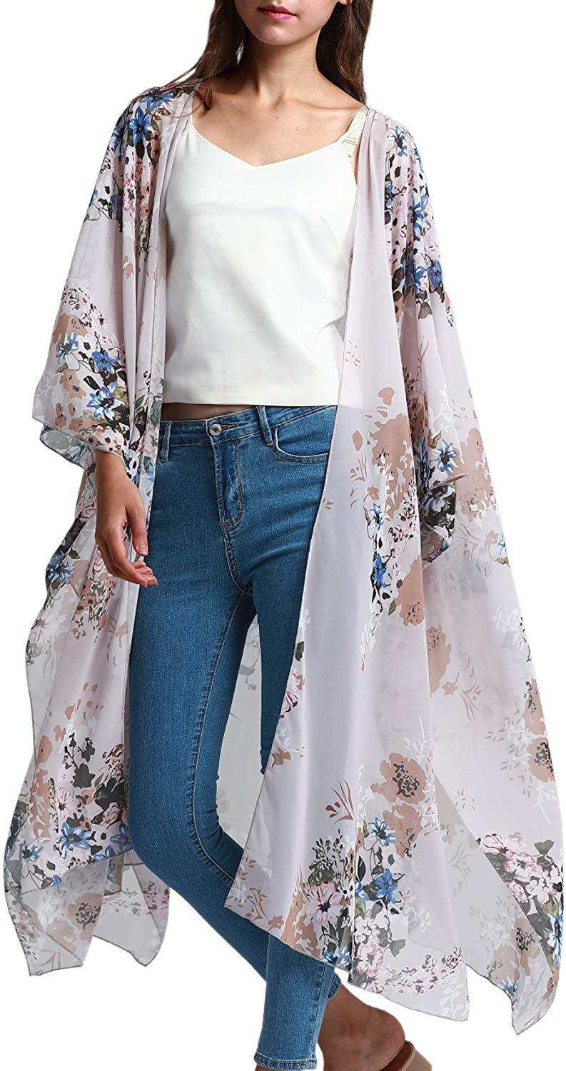 Hibluco Women's Sheer Chiffon Floral Kimono Cardigan Long Blouse Loose Tops Outwear 1