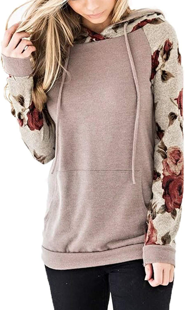 Angashion Women's Floral Printed Long Sleeve Pullover Hoodies Sweatshirt with Pocket